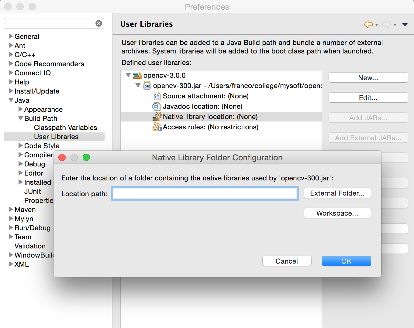 Install and use OpenCV 3 0 on Mac OS X with Eclipse (Java